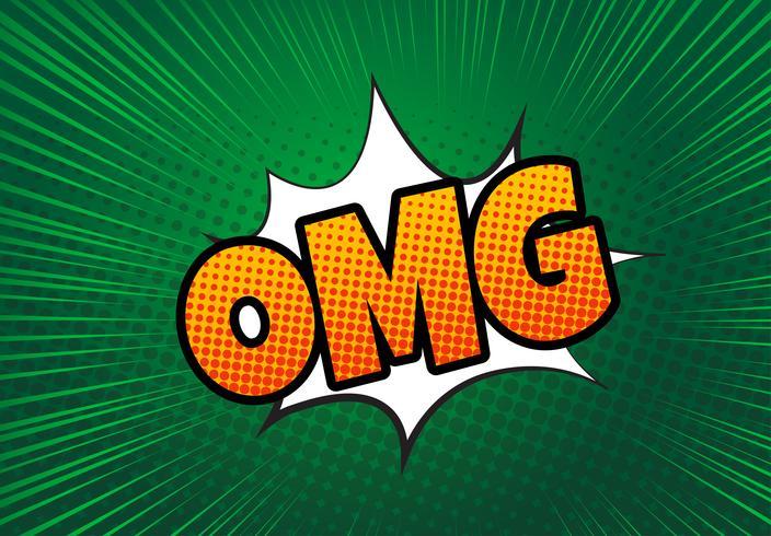 Bolha do discurso em quadrinhos com texto de expressão OMG. Vector brilhante cartoon ilustração dinâmica no estilo retrô pop art