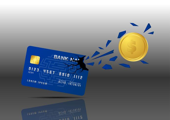 Moneda de oro Penetrar desde tarjeta de crédito. concepto de pago rápido. vector