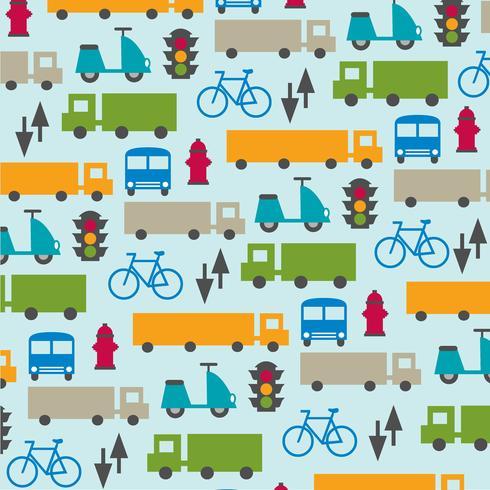 cute transportation pattern on blue background vector