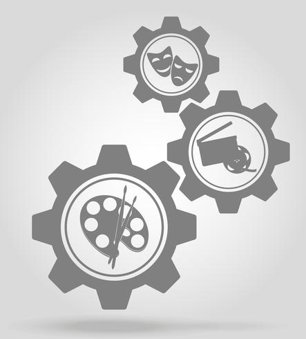 art gear mechanism concept vector illustration