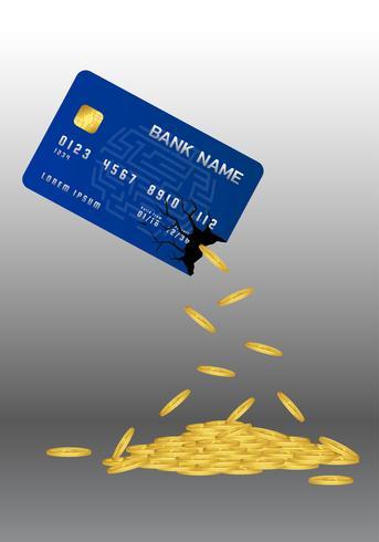 Mynt häller ut kreditkortet. Plastkort. Vektor illustration.