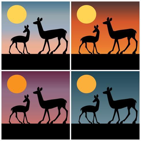 herten silhouet met kleurovergang zonsondergang achtergronden