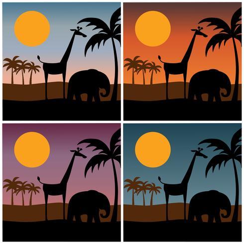 silhouette di scena giungla con sfondi tramonto sfumato