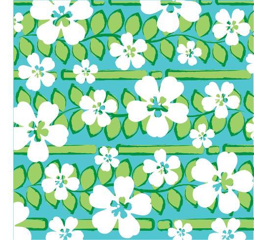 rayure tropicale bleue verte avec des fleurs blanches