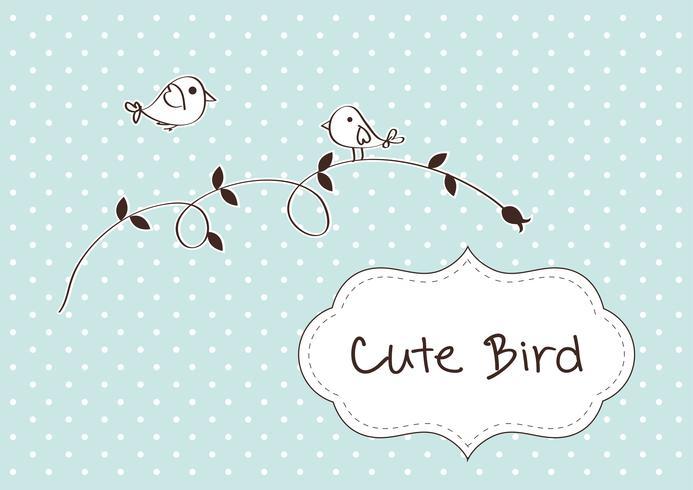 Cartão retro da mola com pássaro bonito