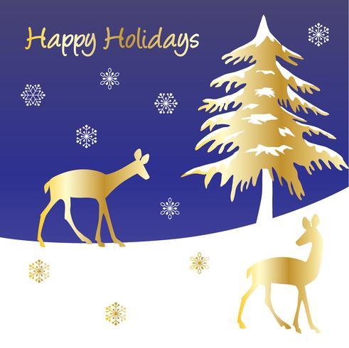 Glad semester grafisk med guld hjort