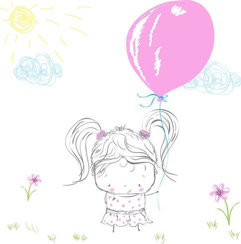 Linda niña con globo