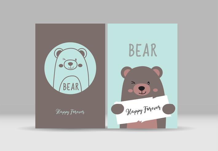 Lindo cartão com urso desenhado de mão