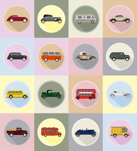 old retro transport flat icons vector illustration