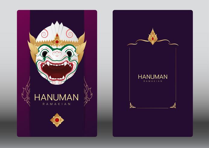 Hanuman, Ramayana, Thailand classical Mask Dance , luxury card vector