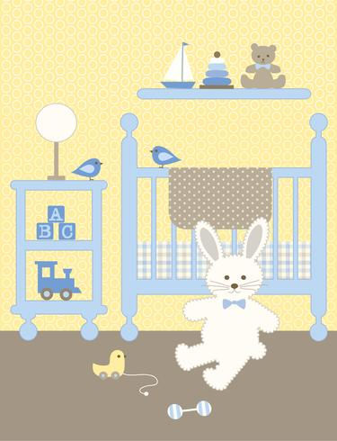 schattig konijntje kinderdagverblijf afbeelding met wieg en speelgoed vector