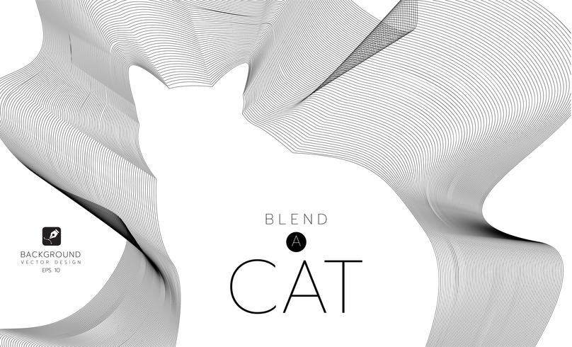 Vector abstract waves and lines background. Curvy design element.Cat made with blend effect.v