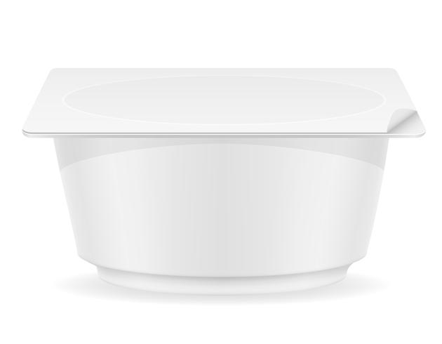 vit plast behållare av yoghurt vektor illustration