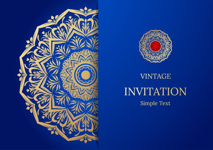 Eleganter Save The Date-Kartenentwurf. Vintage floral Einladungskarte Vorlage. Luxusstrudelmandala-Grußgold und blaue Karte
