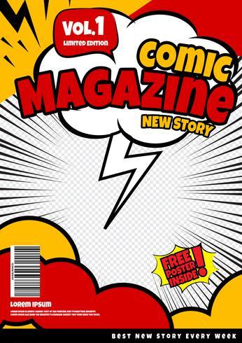 Comic-Buch-Seitenvorlagendesign. Titelseite vektor