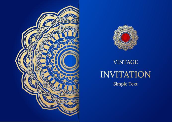 Design elegante della carta Save the Date. Modello di carta di invito floreale vintage. Mandala di lusso turbinio saluto oro e carta blu