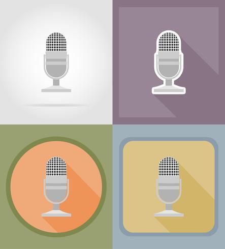mikrofoner platt ikoner vektor illustration