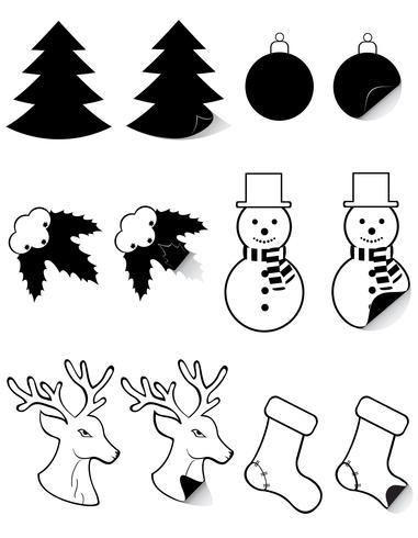 rótulos de ícones para o Natal e ano novo ilustração em vetor silhueta negra