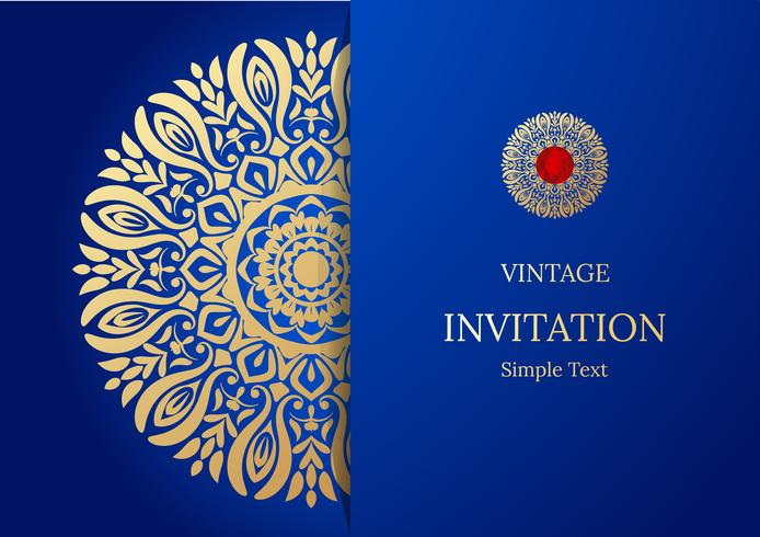 Elegante guardar el diseño de la tarjeta de fecha. Plantilla de tarjeta de invitación floral vintage. Remolino de lujo mandala saludo oro y azul tarjeta vector
