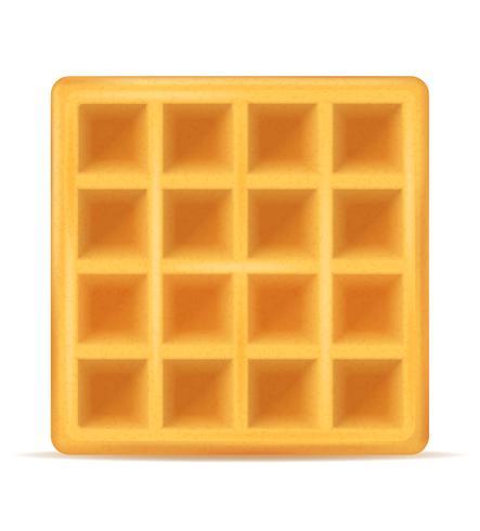 Postre dulce de gofres belgas para ilustración de vector de desayuno