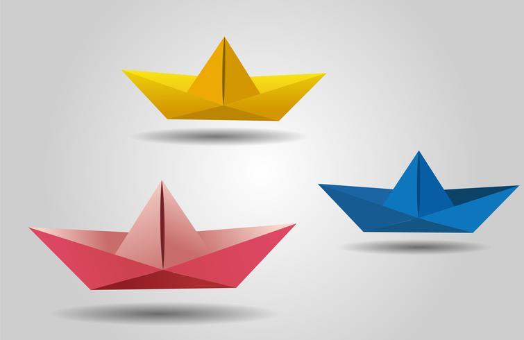 paper cut boat, ships  vector