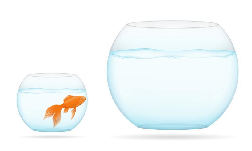 Pescado en una ilustración de vector de acuario transparente
