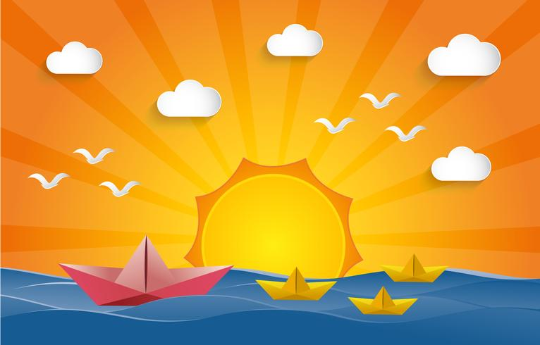 Conceito de liderança. Navigação de papel do barco na água com tempo do por do sol.