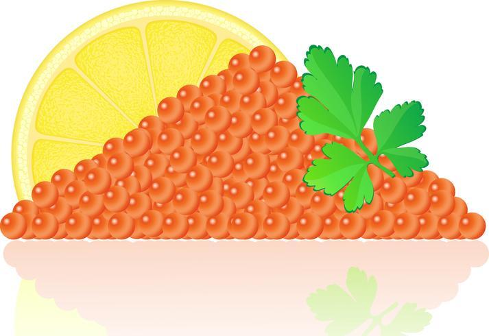 caviar rojo con limón y perejil vector