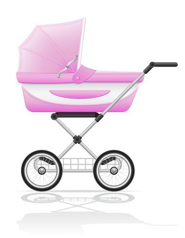Ilustración de vector rosa babys perambulator