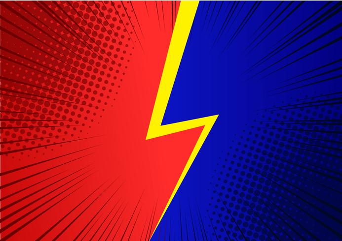 Popkonst röd och blå bakgrund, Snabb linje retro tegelstrålar illustration - Vektor