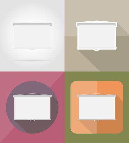 projectiescherm plat pictogrammen vector illustratie
