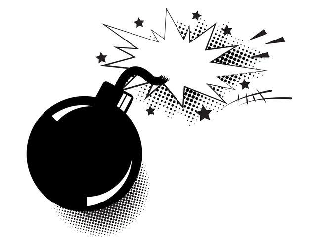 Bom in pop-artstijl en komische tekstballon. Beeldverhaaldynamiet bij achtergrond met halftone punten en zonnestraal.
