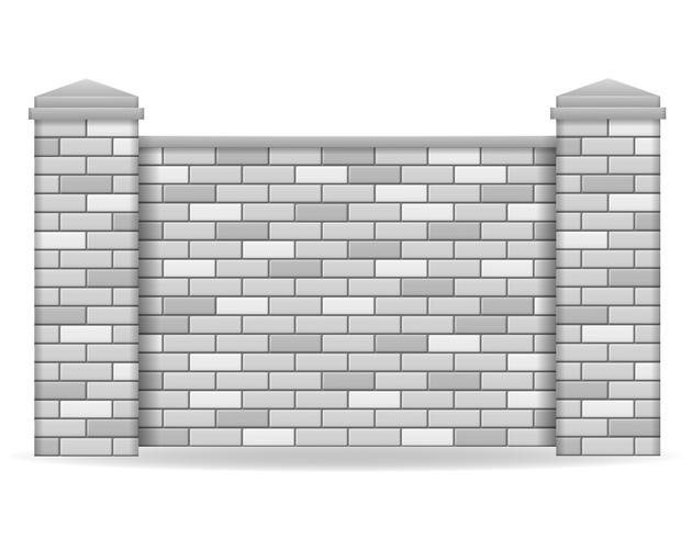 Ilustración de vector de valla de ladrillo