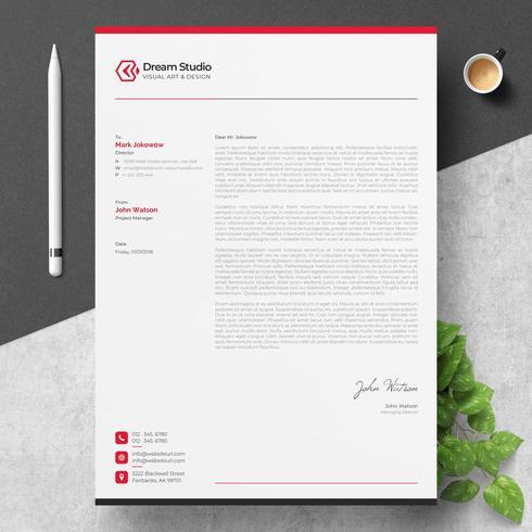 Briefkopfvorlage mit roten Details
