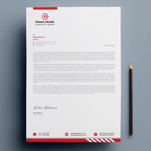 Letterhead Template with red details
