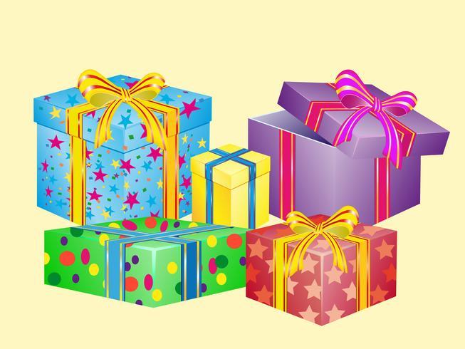 muchas cajas para regalos vector