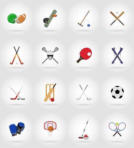ilustração de ícones plana de equipamentos de esporte vetor