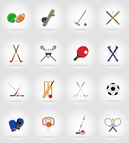 sport equipment flat icons illustration vector