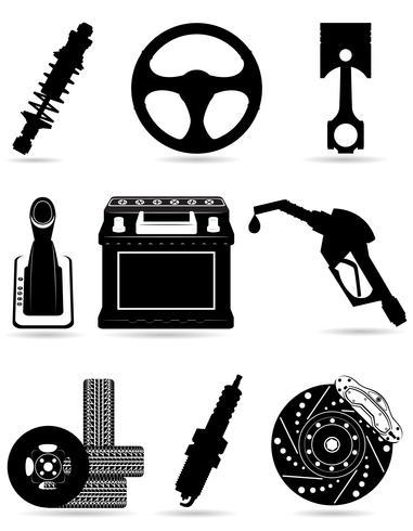 Ange ikoner av bildelar svart silhuett vektor illustration