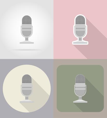 gammal retro mikrofon platt ikoner vektor illustration