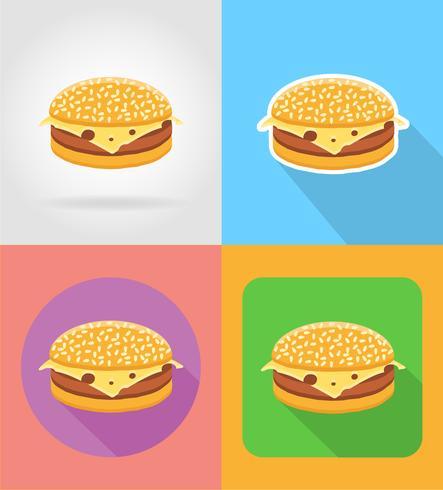 Hamburguesa con queso sándwich de comida rápida iconos planos con la ilustración de vector de sombra