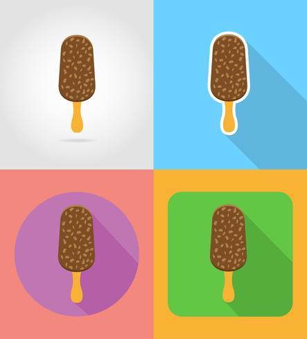 Flache Ikonen des Eiscreme-Schnellimbisses mit der Schattenvektorillustration