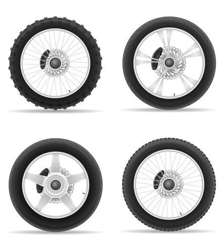 pneu da roda da motocicleta da ilustração em vetor ícones conjunto de disco