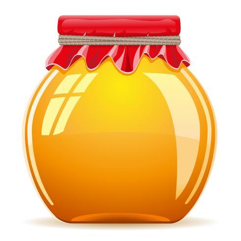 Honig im Topf mit einer roten Abdeckungsvektorillustration