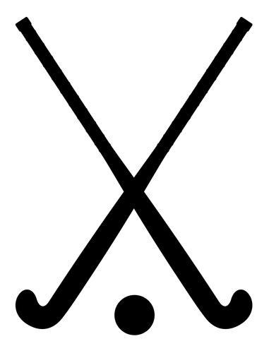Field Hockey Equipment Black Outline Silhouette Vector Illustration