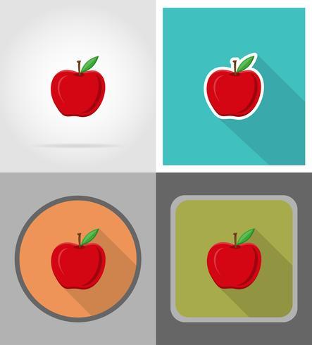 Ilustración de vector de iconos planos de frutas de manzana