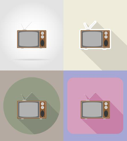 old retro vintage tv flat icons vector illustration