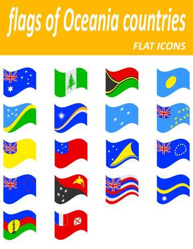 flaggor av Oceanien länder platt ikoner vektor illustration
