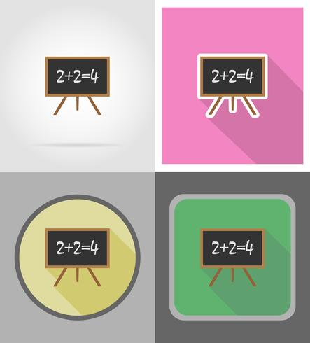 wooden school board flat icons vector illustration