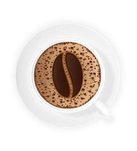 cup of coffee crema and symbol beans vector illustration
